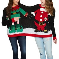 Elf and Santa BFF Couples 2 Person Christmas Sweater