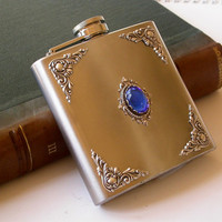 Hip Flask Victorian - Sapphire Glass Cabochon on Stainless Steel Liquor Flask 6 oz -Vintage Style Alcohol Accessories
