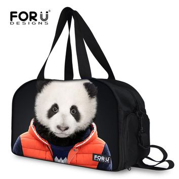 Novelty panda tiger head men's travel duffle zoo animal women luggage tote bags travelling bags casual canvas bag overnight bags