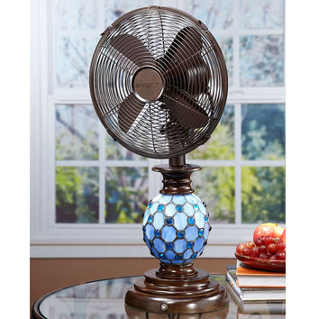 Table Fan/Lamp Mosaic Glass Azure