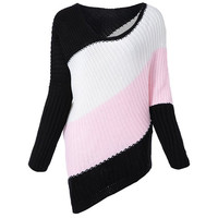 Multicolor Batwing Sleeve Stripe Knitting Sweater
