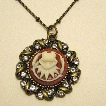 Antique Brass Kermit the Cameo necklace by diamondstarhaloATL