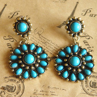 vintage bronze blue turquoise Bohemia earrings jewelry