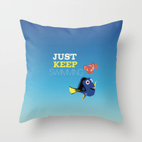 just keep swimming with nemo and dory Throw Pillow by Studiomarshallarts