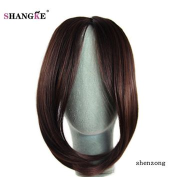 "SHANGKE 9"" Long Straight Bangs Middle Part Bangs For Women Two Clips in Hair Extensions Heat Resistant Synthetic Fake Bangs"