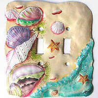 Hand Painted Metal Seashells / Beach Switchplate -Light Switch Plate