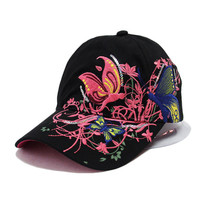 2016 New Fashion spring and summer butterfly embroidery Colorful flower women's sun-shading Baseball Cap  Women Hip Hop Hat B308