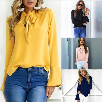 Women Flare Long Sleeve Chiffon Blouse Shirt Bow Irregular Solid Ruffle Blouses 2018 Sping Casual Black Yellow Tops Shirts