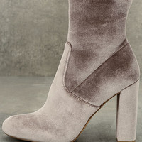 Steve Madden Edit Grey Velvet High Heel Mid-Calf Boots