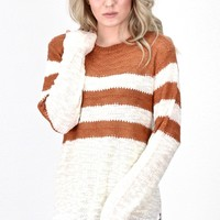 Ultimate Striped Knit Sweater {Rust/Cream}