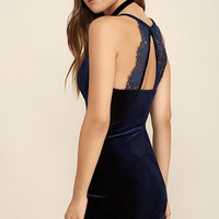 Sultry Summoning Navy Blue Velvet Bodycon Dress
