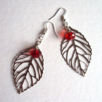 Earrings Red Berries on the Vine