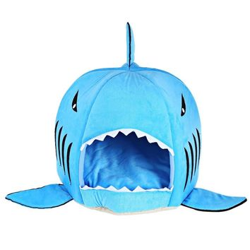 novelty soft dog cat bed cartoon shark mouse shape washable doghouse pet sleeping bed bule grey color with removable cushion