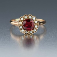 Antique Pearl and Red Spinel Ring 10K Rose Gold 1900s