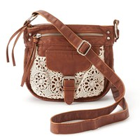 Mudd Emily Crochet Crossbody Bag (Brown)