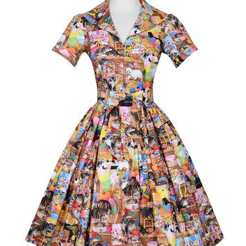 Pin up Lauren Dress in Crazy Cat Lady print