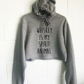 Whiskey Is My Spirit Animal Cropped Hoodie