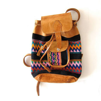 Vintage Southwestern Woven Cotton & Leather Backpack. Ikat Rucksack. Guatemalan Bucket Bag. Drawstring Bag.