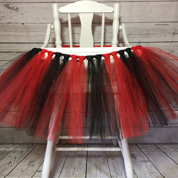 Red and Black High Chair Tutu- Highchair Tutu- High Chair Banner- Highchair Banner- Minnie Mouse 1st Birthday- High Chair Skirt- Smash Cake