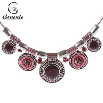 1Piece Ethnic Style Collar Choker Vintage Crystal Alloy Bead Pendant Necklace Tribal Necklace Jewelry