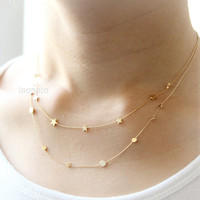 Tiny stars and circles Necklace / choose your style, layered necklaces