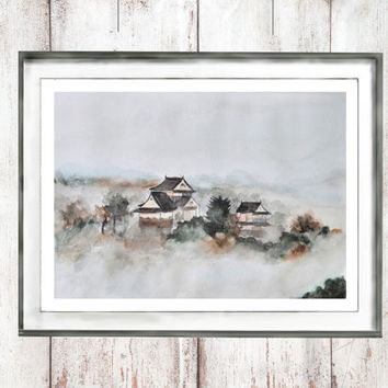 watercolor print Japanese ancient town in fog painting  landscape  oriental home decor wall art landscape painting digital download