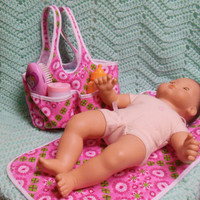 Bitty baby doll diaper bag and changing mat  15 inch doll or any size  green and pink