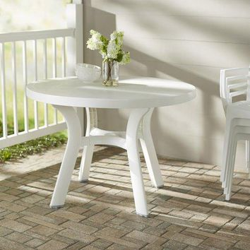 Round Dining Table in Plastic or Resin Perfect for Indoor / Outdoor Use