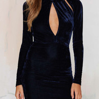 Navy Velvet Cut Out Long Sleeve Bodycon Dress