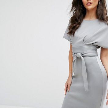 City Goddess Kimono Sleeve Midi Dress With Tie Belt at asos.com