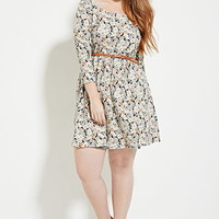 Plus Size Floral Skater Dress