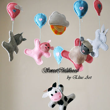 Farm Baby mobile crib animal felt mobile, Farm mobile, nursery, felt mobile, horse, sheep, cow, donkey, pig, grey pink white blue