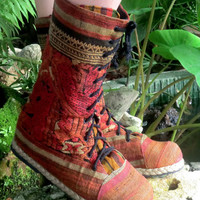 Earthy Rust and Brown Embroidered Mid Calf Lace Up Combat Boot-The Britta