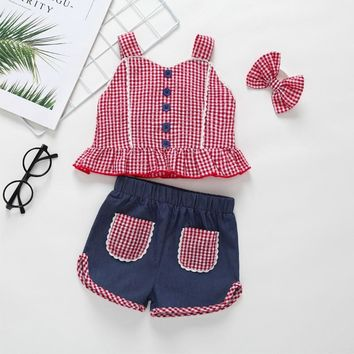 Country Girl Red Checker Shorts Set
