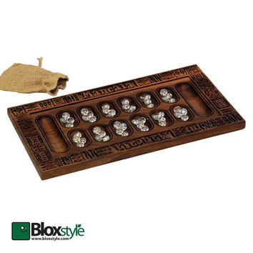 Wood Carved Mancala Game Board with 48 Flat Glass Stones & Burlap Bag, Walnut Custom Game Board, Wooden Board Games, Wood Games, Wooden Game