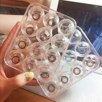 12 pcs Cute Clear Contact Soft Case Set Potable Holder Storage Box