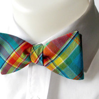 Plaid mens bowtie in bright aqua blue plaid  self by JustBowties