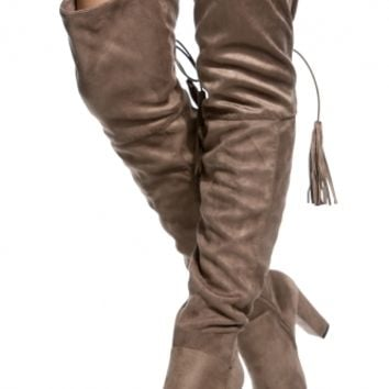 Taupe Faux Suede Chunky Thigh High Boots @ Cicihot Boots Catalog:women's winter boots,leather thigh high boots,black platform knee high boots,over the knee boots,Go Go boots,cowgirl boots,gladiator boots,womens dress boots,skirt boots.