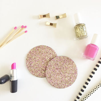 Pink & Gold Glitter Coasters