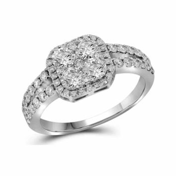 10kt White Gold Women's Round Diamond Square-shape Cluster Split-shank Ring 1-1-4 Cttw - FREE Shipping (US/CAN)