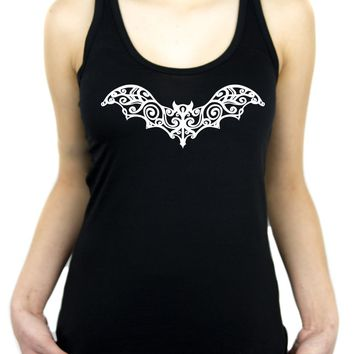 Wrought Iron Grey Vampire Bat Women's Racer Back Tank Top Shirt