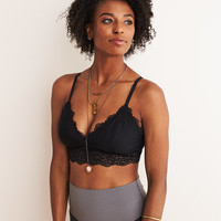 Aerie Ribbed Lace Plunge Bralette, True Black