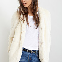 FOREVER 21 Collarless Luxe Faux Fur Coat Cream