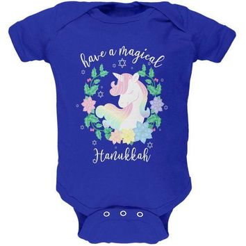 PEAPGQ9 Have a Magical Hanukkah Unicorn Soft Baby One Piece