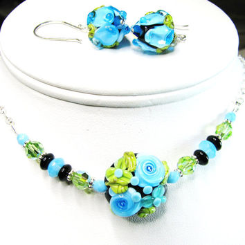 FREE SHIPPING, Blue Floral Lampwork Necklace, Turquoise-Green-Black, Sculptured Glass, Onyx, Swarovski Crystals, Sterling Silver
