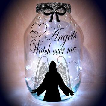Hand painted Guardian Angel / Angels Lantern / candle holder / night light....MADE TO ORDER.