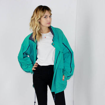 90s OS JACKET London Fog spring green teal zip up athleisure unisex 90s streetwear oversized or LARGE lrg l