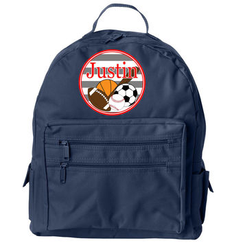 Sports Collection w/ Name Navy Backpack
