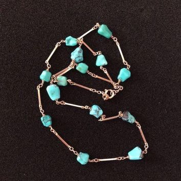 8k Gold and Turquoise Necklace