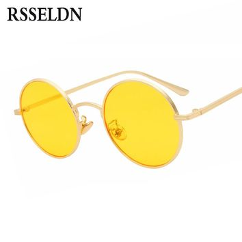 RSSELDN Round Sunglasses Women Retro Vintage Silver Gold Metal Frame Clear Yellow Red Circular Sun glasses for Men UV400 Gafas